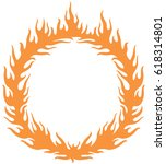 fiery ring burning  hoop in the ... | Shutterstock .eps vector #618314801