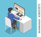flat 3d isometric businessman... | Shutterstock .eps vector #618315371