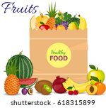 healthy fruits and vegetarian... | Shutterstock .eps vector #618315899