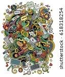 cartoon cute doodles hand drawn ... | Shutterstock .eps vector #618318254