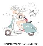 girl on the scooter.   Shutterstock .eps vector #618331301