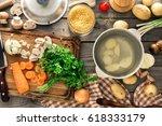 different ingredients for... | Shutterstock . vector #618333179