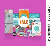 supermarket sale banner.... | Shutterstock . vector #618342599