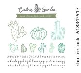 cactus with font matching hand... | Shutterstock .eps vector #618342917