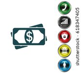 flat icon of money vector icon | Shutterstock .eps vector #618347405