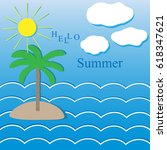summer landscape  tropical... | Shutterstock .eps vector #618347621