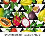 seamless pattern with exotic... | Shutterstock .eps vector #618347879
