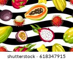 seamless pattern with exotic... | Shutterstock .eps vector #618347915