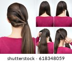simple hairstyle pony tail with ... | Shutterstock . vector #618348059