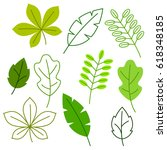 set of stylized green leaves.... | Shutterstock .eps vector #618348185
