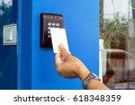 door access control   young... | Shutterstock . vector #618348359