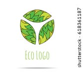 organic cosmetic mono line logo ... | Shutterstock . vector #618361187