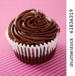 Chocolate Cupcake On Striped...