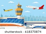 airport control tower and... | Shutterstock . vector #618370874