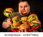 fat man eating fast food... | Shutterstock . vector #618371861