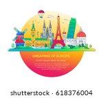dreaming of europe   modern... | Shutterstock .eps vector #618376004
