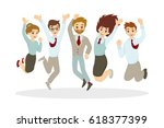happy jumping businessmen on... | Shutterstock .eps vector #618377399