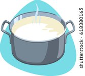hot milk in stainless pot with... | Shutterstock .eps vector #618380165