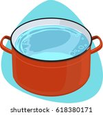 cooking pot. red pot with hot... | Shutterstock .eps vector #618380171