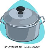 cooking pot with handles and... | Shutterstock .eps vector #618380204