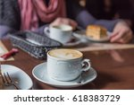 coffee and cake ln the cafe | Shutterstock . vector #618383729