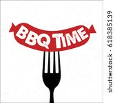 bbq time. hand drawn typography ...