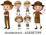 park rangers in uniform... | Shutterstock .eps vector #618387299