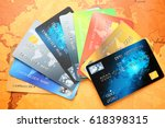credit cards on world map... | Shutterstock . vector #618398315