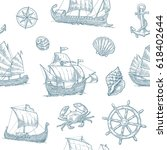 seamless pattern with trireme ... | Shutterstock .eps vector #618402644