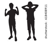 silhouettes teenager who is... | Shutterstock .eps vector #618408911
