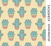 Cartoon Cactus Cat. Cool Print