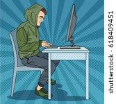 hacker hooded man stealing...   Shutterstock .eps vector #618409451
