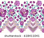 seamless border with waves... | Shutterstock .eps vector #618411041