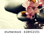beautiful pink spa flowers on... | Shutterstock . vector #618412151