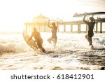 group of friends going to surf... | Shutterstock . vector #618412901
