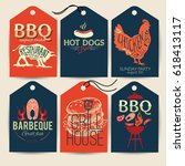 barbecue party stickers bbq... | Shutterstock .eps vector #618413117