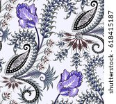 seamless ornate pattern with... | Shutterstock .eps vector #618415187