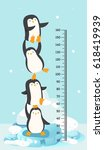 meter wall with penguin.vector... | Shutterstock .eps vector #618419939