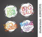 different colo sale banners...   Shutterstock .eps vector #618421931