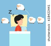 man sleeping counting sheep to... | Shutterstock .eps vector #618422441