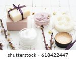 beauty products collection with ... | Shutterstock . vector #618422447