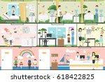 children in hospital set.... | Shutterstock . vector #618422825