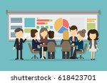 business conference with people ... | Shutterstock . vector #618423701