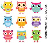 Isolated Cartoon Owls  Vector...