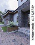 modern front house entrance... | Shutterstock . vector #618428789