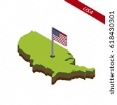 isometric map and flag of usa.... | Shutterstock .eps vector #618430301