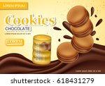 sandwich chocolate cookies... | Shutterstock .eps vector #618431279