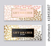 voucher template with gold gift ... | Shutterstock .eps vector #618431837
