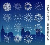 fireworks on city at night... | Shutterstock .eps vector #618431981