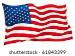flapping flag usa with wave | Shutterstock . vector #61843399